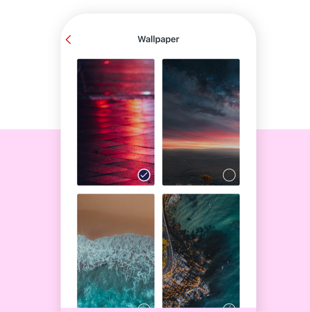 App screen shows four examples of new app wallpaper options