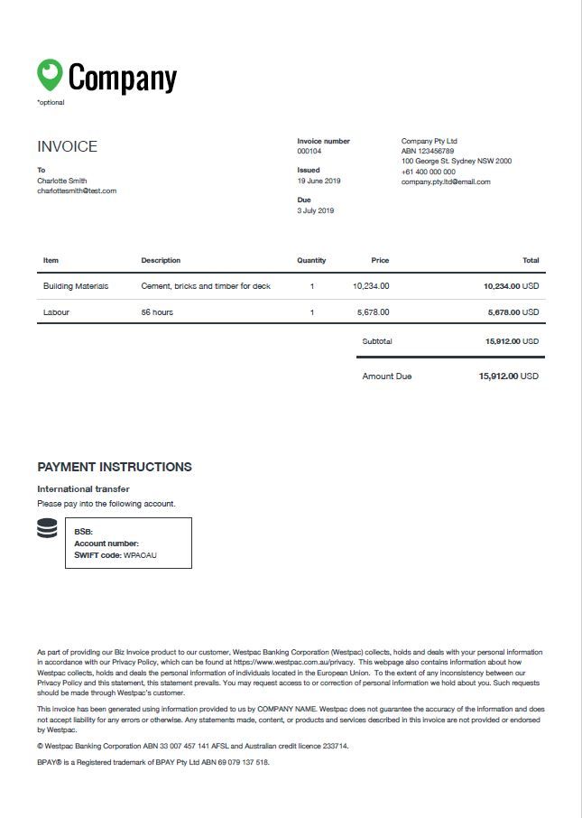 Example of Biz Invoice Foreign currency accounts