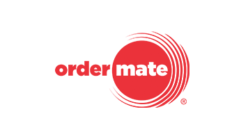 OrderMate logo with the word order shown in red font and no background and the word mate shown in white on top of a red circular patterned background