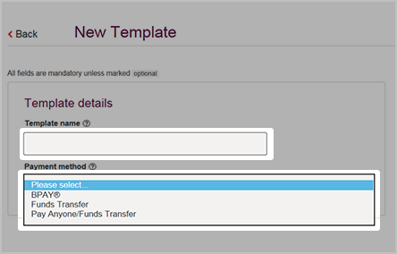 how to create a payment template westpac