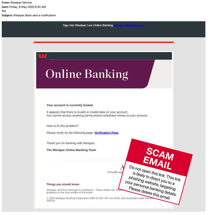 Latest Scams Westpac