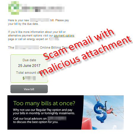 Malicious software scam email