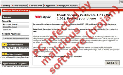 Malware IBank Security Certification screen