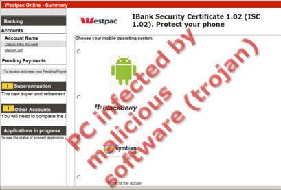 Malware IBank Security Certification screen 2