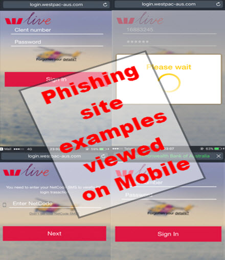 Phishing site examples viewed on Mobile