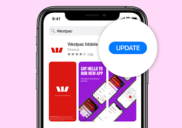 Update is magnified next to the Westpac App